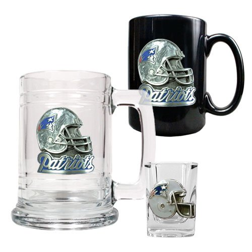Nfl New England Patriots 15-Ounce Tankard, 15-Ounce Ceramic Mug & 2-Ounce Shot Glass Set - Primary Logo front-623986