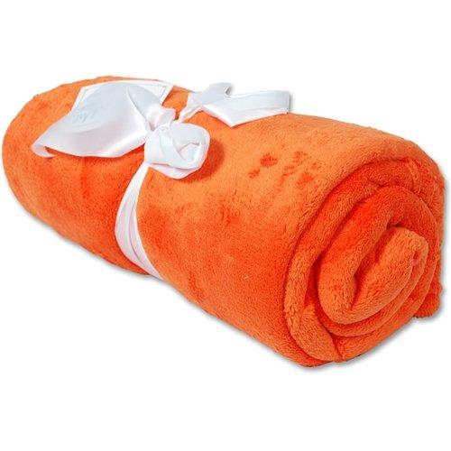 Super Soft Plush Fleece Blankets - By Threadart - Orange - 10 Colors available