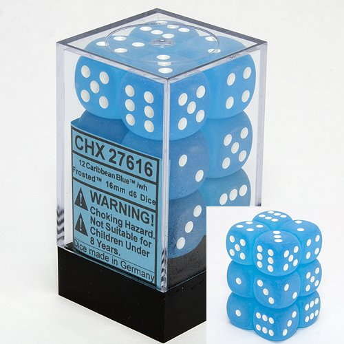 Chessex Dice d6 Sets: Frosted Caribbean Blue with White - 16mm Six Sided Die (12) Block of Dice