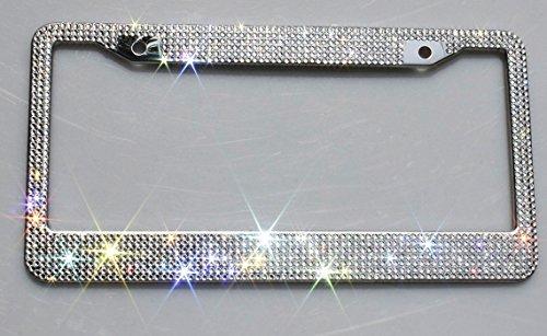 Carfond 7 Row Handcrafted Shining Sparkling Premium Crystal Diamond Stainless Steel Metal License Plate Frame 2 Holes Bonus Matching Screws Caps (Clear crystal) (Diamond Plate License Plate Frame compare prices)
