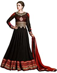 Exotic India Jet-Black Wedding Long Anarkali Suit With Golden Embroidery - Black
