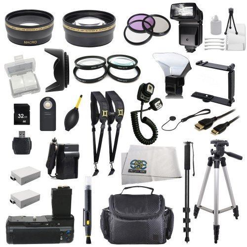 The EVERYTHING YOU NEED Package kit for the Canon EOS Rebel 550D, 600D, 650D, 700D, T2i, T3i, T4i and T5i Digital SLR Cameras -BUNDLE – Includes Wide Angle & Telephoto Lenses, Filters, Batteries, Flash, Tripod, Monopod, Case, 32GB Memory Card, Dual Neck Strap & Much Much More!
