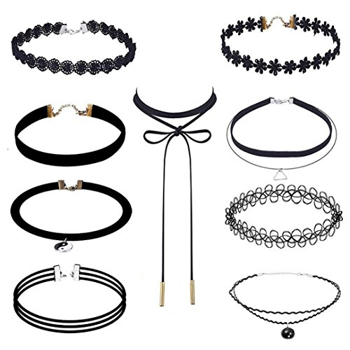 lace-choker-kingwo-9-stuck-choker-halskette-set-stretch-samt-classic-gothic-tattoo-spitze-choker-fur