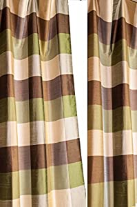 green brown gold toned buffalo checks lined rodpocketed curtain panel 52 w x 96. Black Bedroom Furniture Sets. Home Design Ideas