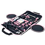 Household Hand Tools, 86 Piece Tool Set With Roll-Up Bag by Stalwart, (Hammer, Wrench Set, Screwdriver Set, Pliers) - Great for the Home or Car - Pink