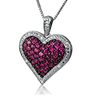 1ct Created Ruby and Diamond Puffed Heart Pendant- Necklace in Sterling Silver on an 18 inch Box Chain by Amanda Rose Collection
