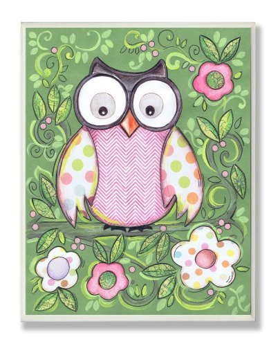 The Kids Room by Stupell Polka Dot Owl with Green Floral Background Rectangle Wall Plaque