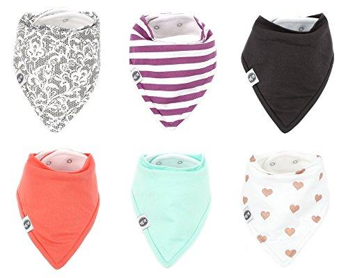 Baby Bandana Drool Bibs for Girls 6 Pack