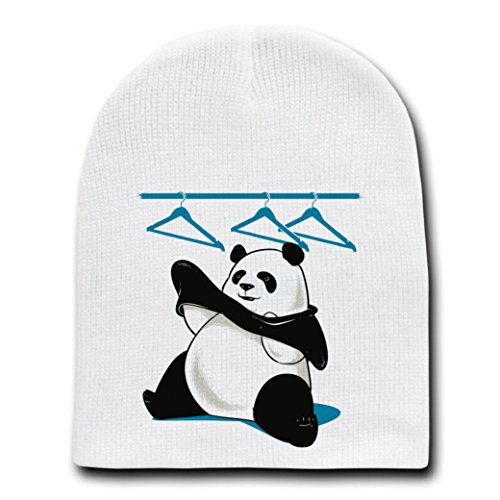 """Outfit"" Funny Panda Bear Putting Clothes On - White Beanie Skull Cap Hat"