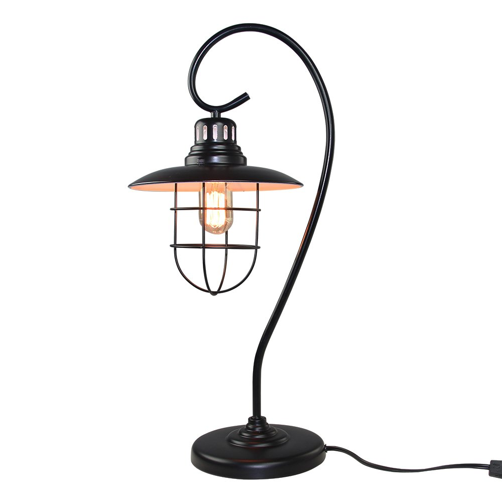 LNC Iron Glass Vintage Industrial Table Lamp 0