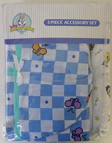 Baby Looney Tunes 3 Piece Garden Party Accessory Set - Crib Skirt, Flannel Receiving Blanket, Diaper Stacker - 1