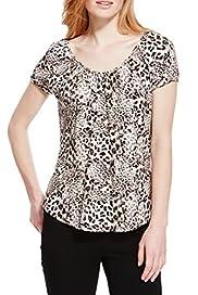 Short Sleeve Animal Print Boho Top [T41-4457-S]