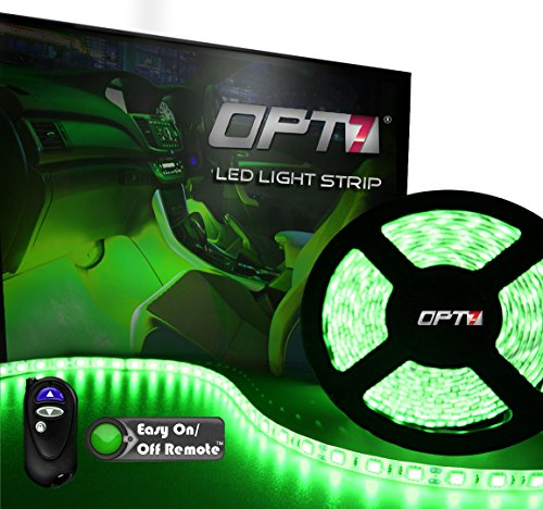 Opt7® 16Ft Led Light Strip - 5Mil™ Wide-Angle Smd - 100 Mini-Strips W/ Remote And Connectors - Green