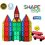 Magnetic Stick N Stack Magnetic Tiles 100 Piece Set Clear Colors with 2 Magnetic Wheel Bases