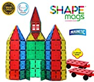 Magnetic Stick N Stack Magnetic Tiles with 2 Magnetic Wheel Bases (100 Pieces)