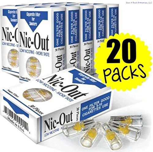 Filters Cigarette Packs 20 TOTAL NIC-OUT Zen Tubes Nic Tar Out Rolling Less Tar and Nicotine (600 Filters) (Light Film Shark Tank compare prices)