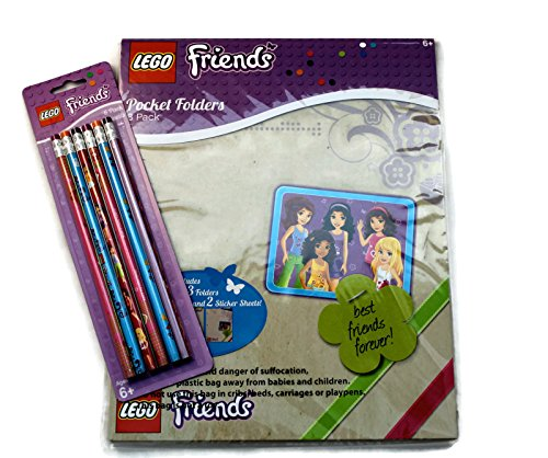 Lego Friends Bundle of 2 Items: (1) 3 Pack of Folders with 2 Sticker sheets included, and one 6 pk of Pencils - 1