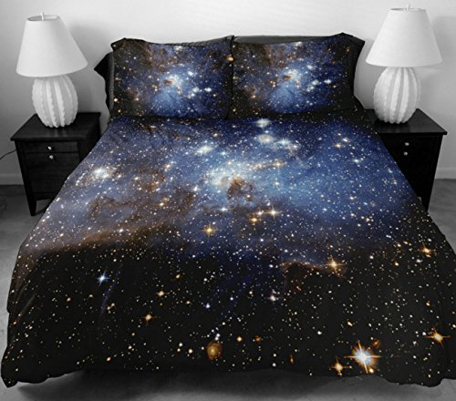 Anlye Nebula Bedding Sets For Home Decor 2 Sides Printing Light Blue Nebula Quilt Cover Twinkle Star Flat Sheet With 2 Nebula Pillow Covers Full front-840192