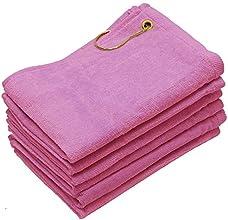 Finger Touch - 6 Pack Golf Towels - Baby Pink - 11x18 - Corner Grommet amp Hook