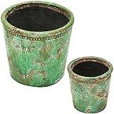 陶器植木鉢 フォレストポット 薫風(くんぷう) 大小セット 7.5号&4.5号 154004LS-S02-SET