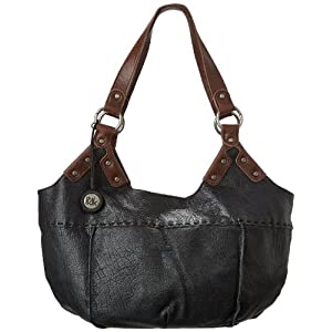 The SAK Indio Satchel Top Handle Bag,Black,One Size