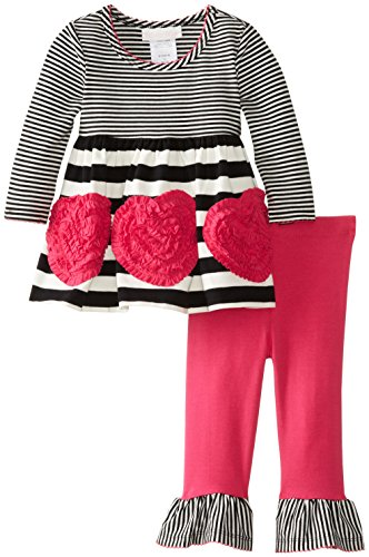 Bonnie Baby Baby-Girls Infant Bonaz Heart And Stripe Legging Set, Fuchsia, 18 Months front-864847