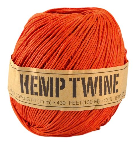 Orange Hemp Twine - 20 LB. Test - 1mm - 430 Feet - 100g - 100% Hemp Fibers