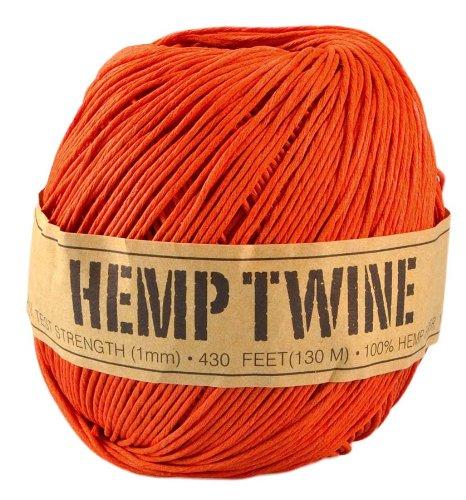Orange Hemp Twine - 20 LB. Test - 1mm - 430 Feet - 100g - 100% Hemp Fibers