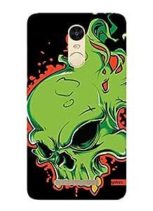 Gobzu Printed Designer Hard Case Back Cover for Xiaomi Redmi Note 3 - Green Skully