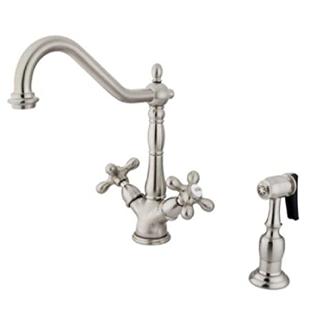 Kingston Brass Satin Nickel Finish Deck Mount Kitchen Faucet with AX Handle & Brass Sprayer