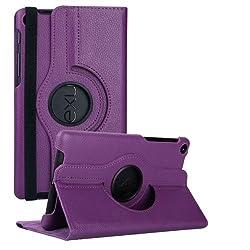 Nexus 7 2013 Case, Stand Flip Cover 360 Degree Series PU Leather Premium 360 Degree Rotating Stand Flip Cover With auto wake sleep (Purple)