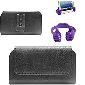 DMG Premium PU Leather Cell Phone Pouch Carrying Case with Belt Clip Holster for LAVA IRIS X8 (Black) + Mobile Holder Hand Stand
