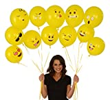 Emoji Universe Series One: Emoji Smiley Face Latex Balloons, 72-Pack