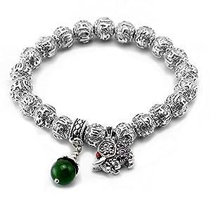 Valentine's Day Gift Tibetan Silver 10mm Beads Om Mani Padme Hum Mantra Bracelet Birthstone & Elephant Charms