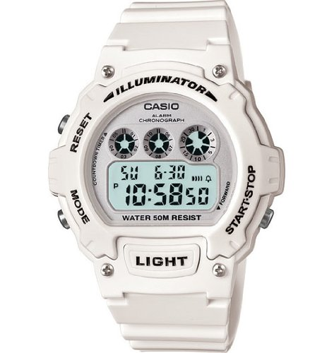 Casio W-214HC-7BVCF Mens White Chronograph Watch
