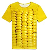 立体とうもろこし柄Tシャツ&サングラス 3DおもしろコーンTシャツと黄色いサングラスのセット (S) [並行輸入品]