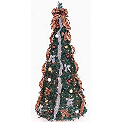 Pop Up 6' Green Artificial Christmas Tree with 350 Clear Lights - Bronze / Gold