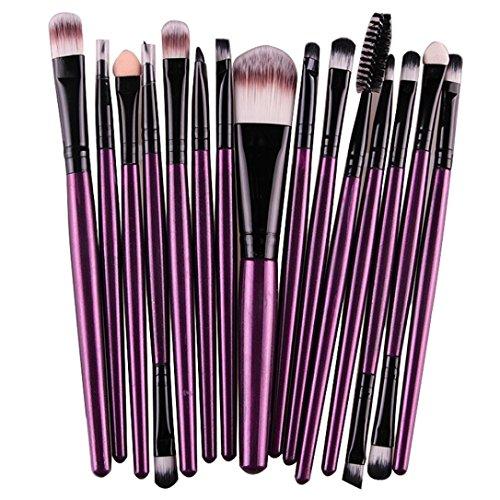Bolayu 15 pcs/Sets Makeup Brushes Tool Eye Shadow Foundation Eyebrow Lip Brush (Purple) (Glow In The Dark Makeup Kit)