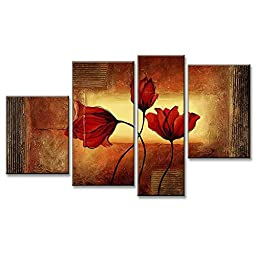 Neron Art - Flowers Poppies In The Wind Floral Oil Paintings Set of 4 Panels on Gallery Wrapped Canvas overall 49X29 inch