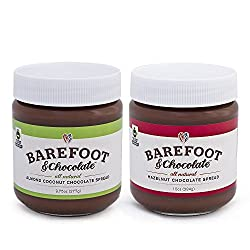 Barefoot & Chocolate – Chocolate Almond Coconut and Hazelnut Chocolate Spread – 2 Jar Pack (9.75oz Almond & 10oz Hazelnut)