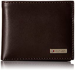 Tommy Hilfiger Leather Men's Multi-Card Passcase Bifold Wallet with Removable Card Case, Brown, One Size