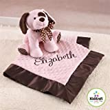 Personalised Embroidered Baby Blanket with name Newborn Girl Gift Set with Puppy Teddy Pink