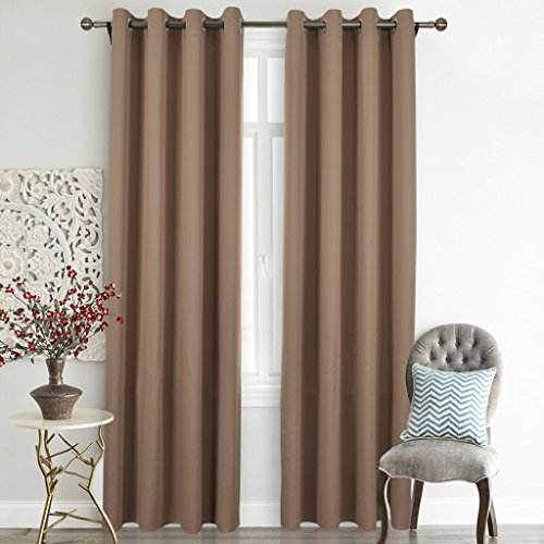 Nicetown Upgraded Window Treatment Thermal Insulated Grommet Blackout Curtains / Drapes for Bedroom (Set of 2 Panels,52 by 84 Inch,Cappuccino) (Sliding Door Pattern Curtains compare prices)