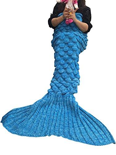 Meerjungfrau Decke, Handgemachte Häkeln Meerjungfrau Flosse Decke für Erwachsene, Mermaid Blanket alle Jahreszeiten Schlafsack (71''x35'',Blau(s)) thumbnail