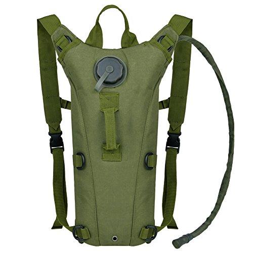 VBIGER ハイドレーションバッグ 3.0L 水分補給 ウォーターバッグ リュック 自転車 サイクリングバッグ タクティカル 登山 ランニング アウトドア 給水装備 バックパック(アーミーグリーン)