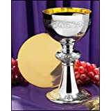 Catholic Brands Nickel Plated Brass Ornamented Chalice and Paten Set, 10 Ounce (Color: Silver, Gold)