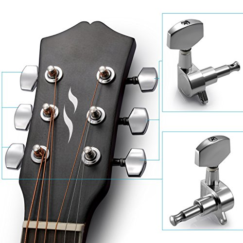 Neewer® 6 Pieces Sliver Acoustic Guitar Machine Heads Knobs Guitar String Tuning Peg Tuner(3 for Left + 3 for Right) (Acoustic Guitar Tuning Machines compare prices)