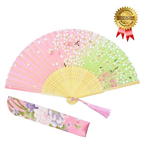 OMyTea® Hand Held Silk Folding Fans with Bamboo Frame - With a Fabric Sleeve for Protection for Gifts - 100% Handmade Oriental Chinese / Japanese Vintage Retro Style (WZS-45) (Japanese Silk Fan compare prices)