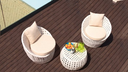 Cozy Bay® Peble 2 Seater Rattan Furniture White Super Garden Conservatory Tea For Two Set