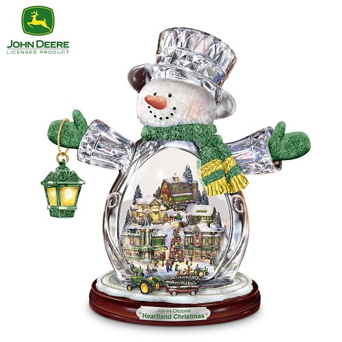 John Deere Heartland Crystal Snowman Figurine: Christmas Village Holiday Decoration by The Bradford Editions